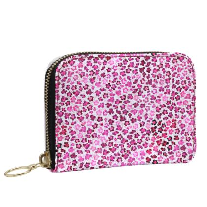 Leopard Skin in Magenta Collection Small Leather Zip Purse