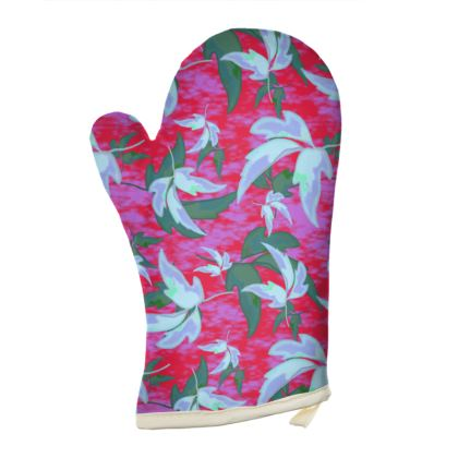 Oven Glove Leaves in Flight Red