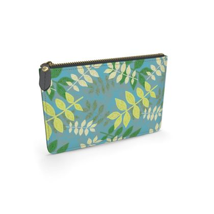 Leather Pouch Etched Leaves  Green Glade