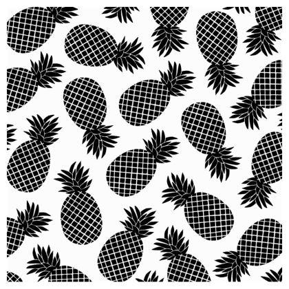 Pineapple In Black Zip Top Handbag