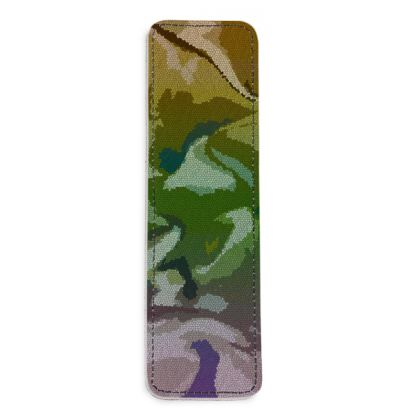 Leather Bookmarks - Honeycomb Marble Abstract 4