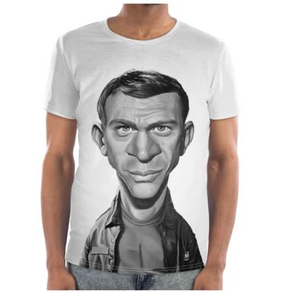 Steve McQueen Celebrity Caricature Cut and Sew T Shirt