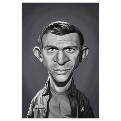 Steve McQueen Celebrity Caricature Art Print