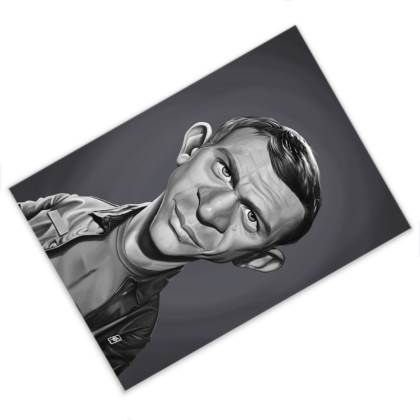 Steve McQueen Celebrity Caricature Postcard