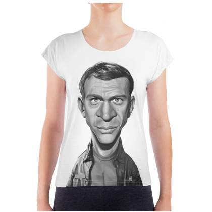 Steve McQueen Celebrity Caricature Ladies T Shirt