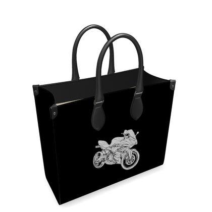 Leather Shopper Bag - Superbike Sketch