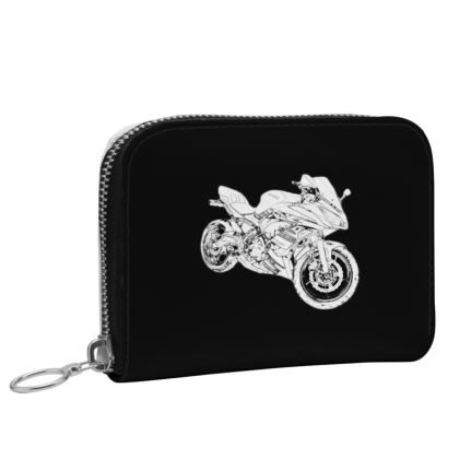 Small Leather Zip Purse - Superbike Sketch