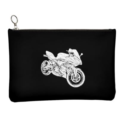 Leather Clutch Bag - Superbike Sketch
