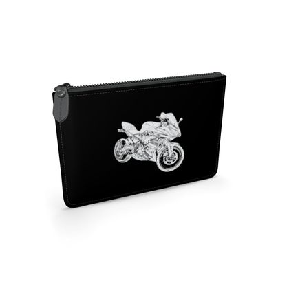 Leather Pouch - Superbike Sketch