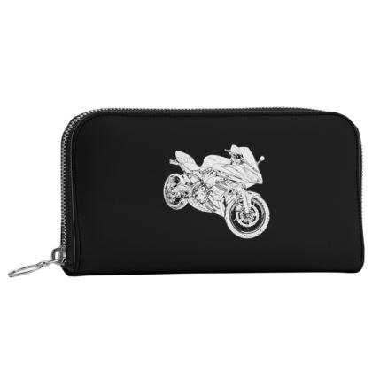 Leather Zip Purse - Superbike Sketch