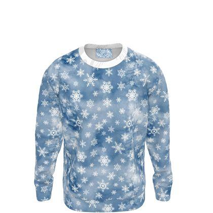 Blue watercolor snowflakes