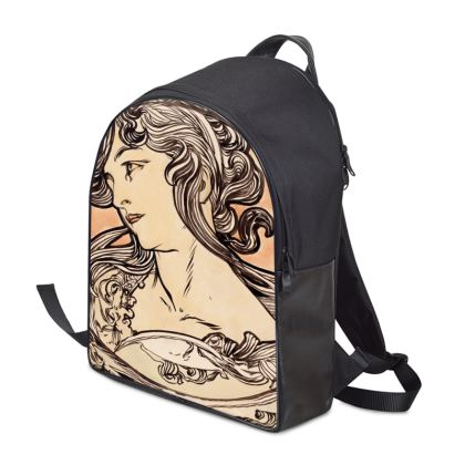 Backpack - Alphonse Maria Mucha Stained Glass #1