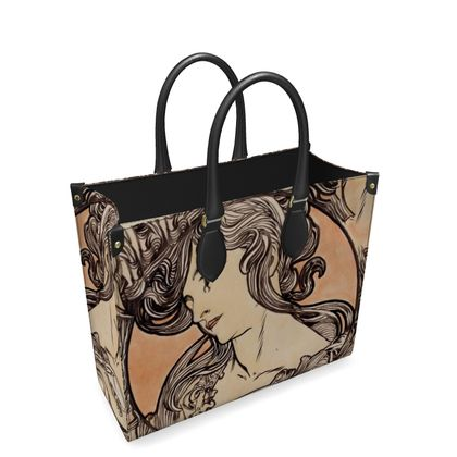 Leather Shopper Bag - Alphonse Maria Mucha Stained Glass #1