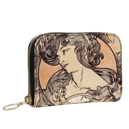 Small Leather Zip Purse - Alphonse Maria Mucha Stained Glass #1