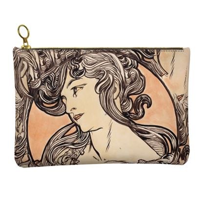 Leather Clutch Bag - Alphonse Maria Mucha Stained Glass #1