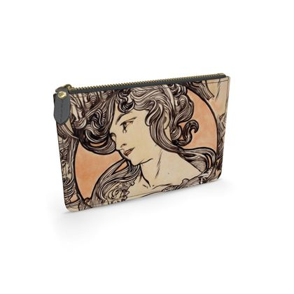 Leather Pouch - Alphonse Maria Mucha Stained Glass #1