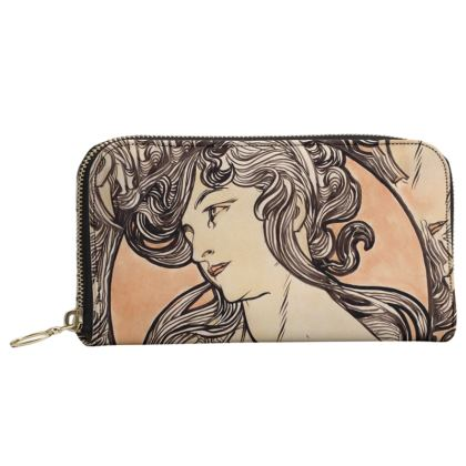Leather Zip Purse - Alphonse Maria Mucha Stained Glass #1