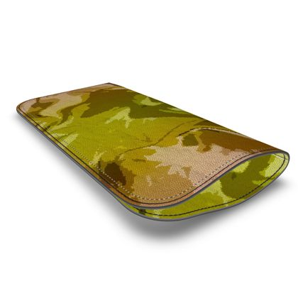 Leather Glasses Case - Honeycomb Marble Abstract 3