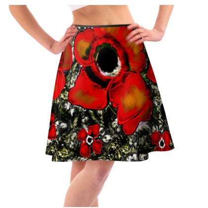 Flared Skirt Abstract Poppy