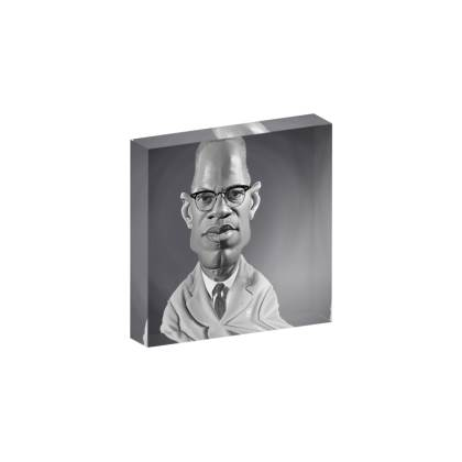 Malcolm X Celebrity Caricature Acrylic Photo Blocks