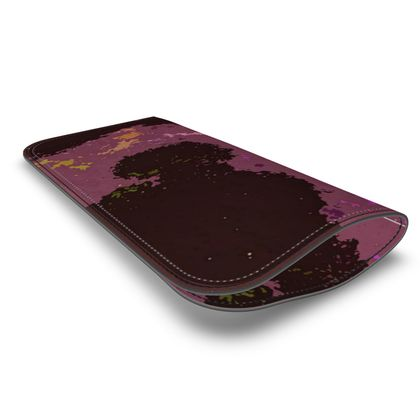Leather Glasses Case - Pink Ion Storm Abstract
