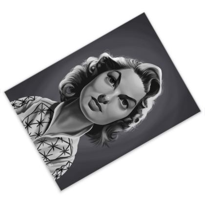 Ingrid Bergman Celebrity Caricature Postcard