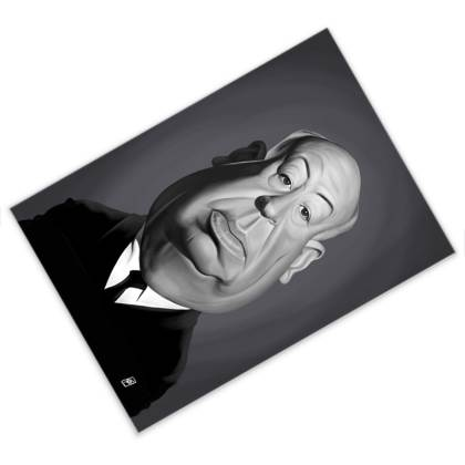Alfred Hitchcock Celebrity Caricature Postcard