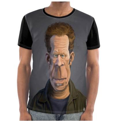 Tom Waits Celebrity Caricature Cut and Sew T Shirt