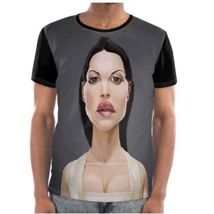 Monica Bellucci Celebrity Caricature Cut and Sew T Shirt