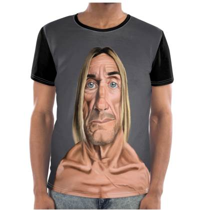 Iggy Pop Celebrity Caricature Cut and Sew T Shirt