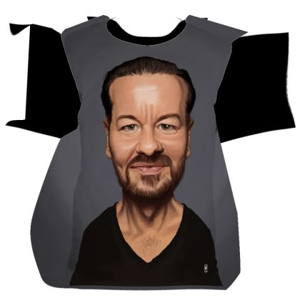 Ricky Gervais Celebrity Caricature Cut and Sew T Shirt