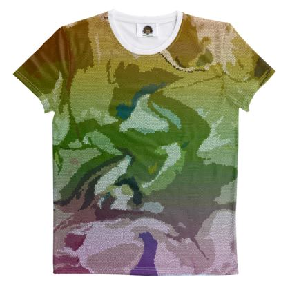 All Over Print T Shirt - Honeycomb Marble Abstract 4