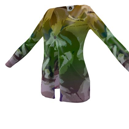 Ladies Cardigan With Pockets - Honeycomb Marble Abstract 4