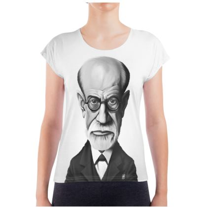 Sigmund Freud Celebrity Caricature Ladies T Shirt