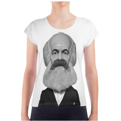Karl Marx Celebrity Caricature Ladies T Shirt