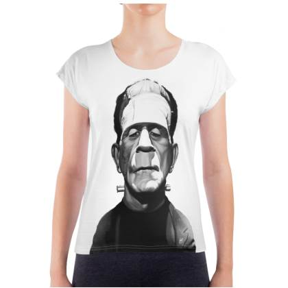 Boris Karloff Celebrity Caricature Ladies T Shirt