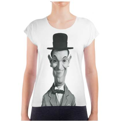 Stan Laurel Celebrity Caricature Ladies T Shirt