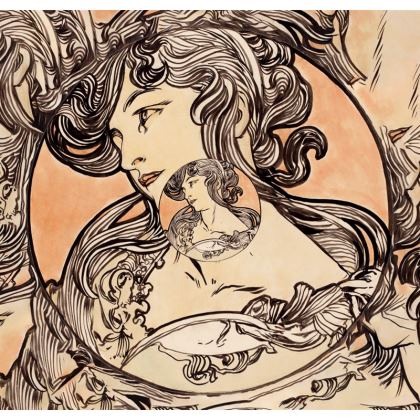 Deckchair - Alphonse Maria Mucha Stained Glass #1