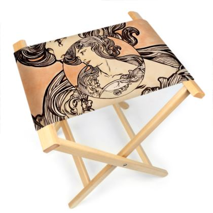 Folding Stool Chair - Alphonse Maria Mucha Stained Glass #1