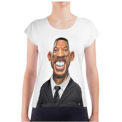 Will Smith Celebrity Caricature Ladies T Shirt