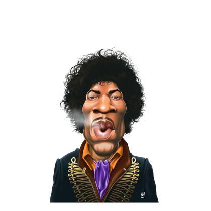 Jimi Hendrix Celebrity Caricature Ladies T Shirt
