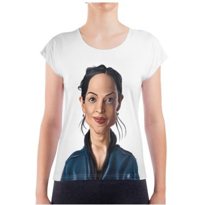 Archie Panjabi Celebrity Caricature Ladies T Shirt