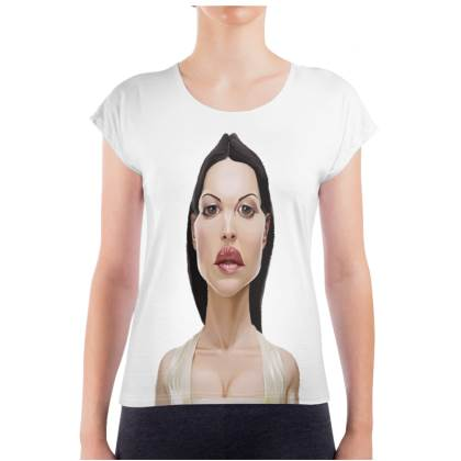 Monica Bellucci Celebrity Caricature Ladies T Shirt