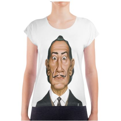Salvador Dali Celebrity Caricature Ladies T Shirt