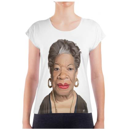 Maya Angelou Celebrity Caricature Ladies T Shirt