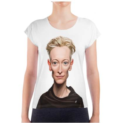Tilda Swinton Celebrity Caricature Ladies T Shirt