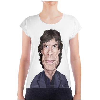 Mick Jagger Celebrity Caricature Ladies T Shirt