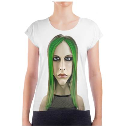 Avril Lavigne Celebrity Caricature Ladies T Shirt