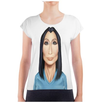 Cher Celebrity Caricature Ladies T Shirt