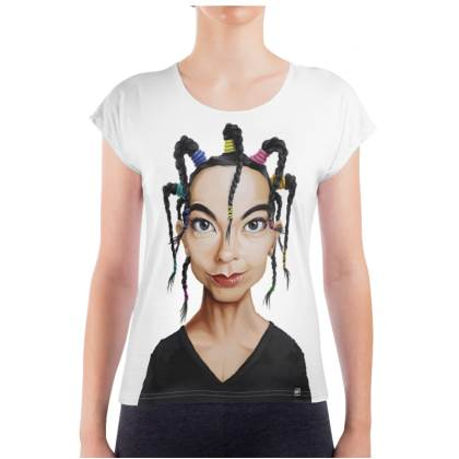 Björk Celebrity Caricature Ladies T Shirt